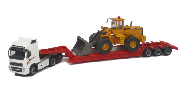 Volvo FH12 with Lowboy and Volvo L150C Wheel Loader (1:87)