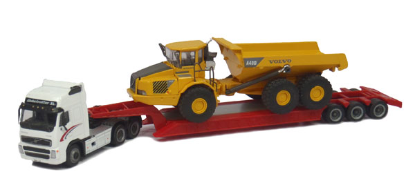 Volvo FH12 with Lowboy and Volvo A40D Articulated Hauler (1:87)