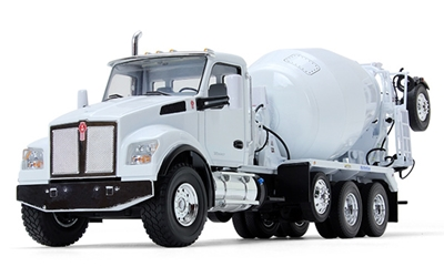 Kenworth T880S with McNeilus Bridgemaster Concrete Mixer in White Diecast Metal Replica (1:34), First Gear, Item Number FRG10-4145