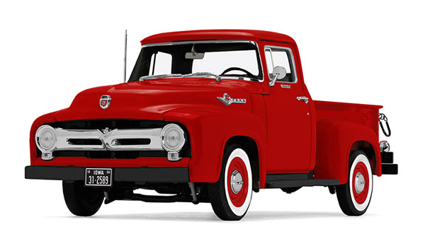 1956 Ford F-100 Pickup in Vermillion Red - High Feature <br>diecast metal replica (1:25), First Gear Item Number FRG40-0414