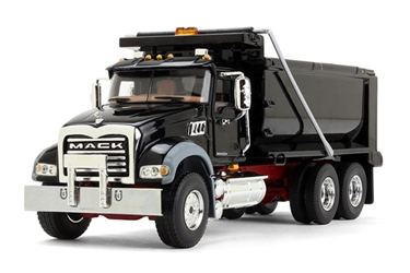 Mack Granite Dump Truck in Black with Red Chassis (1:50)