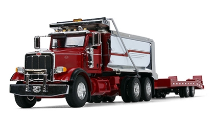 Peterbilt Model 367 Dump Truck with Beavertail Trailer in Red and Chrome diecast metal replica (1:50)