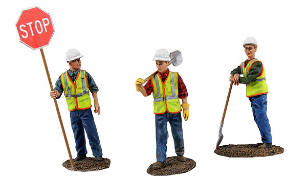Construction Figures 3-Piece Set <br> Worker holding stop sign  1/50 by First Gear SKU FRG90-0480