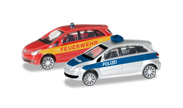 Police / Fire Department - Mercedes-Benz B-Class - 2-Piece Set (1:60), Herpa Item Number HE066549