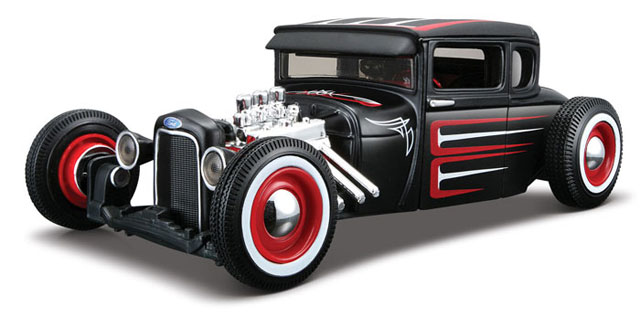 1929 Ford Model A 1929 Ford Model A in Flat Black - Custom Shop Assembly Line Diecast Metal Model Kit (1:24), Maisto Item Number MST39354BK