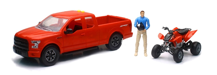 Ford F150 Pickup in Red with Honda ATV and Driver 1:14 by New Ray Diecast Item Number: NR02206A