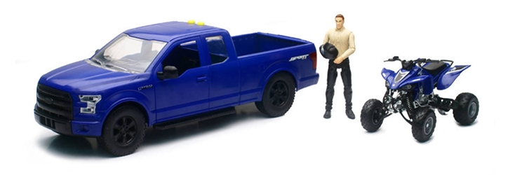 Ford F150 Pickup in Blue with Yamaha ATV and Driver 1:14 by New Ray Diecast Item Number: NR02206B