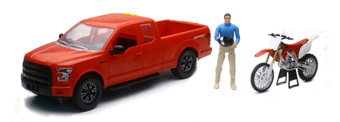 Ford F150 Pickup in Red with Honda Dirt Bike and Driver 1:14 by New Ray Diecast Item Number: NR02216A