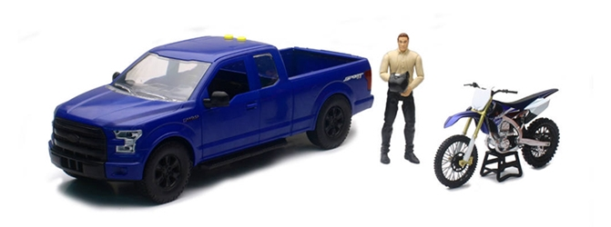 Ford F150 Pickup in Blue with Yamaha Dirt Bike and Driver 1:14 by New Ray Diecast Item Number: NR02216B