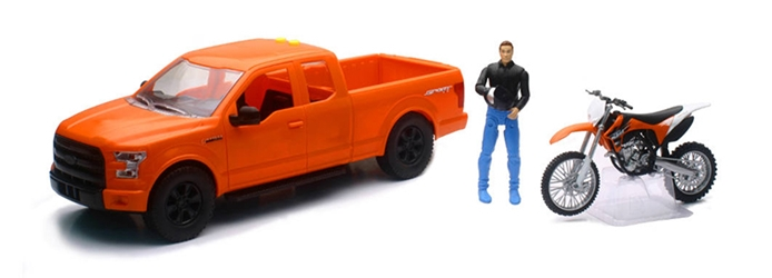 Ford F150 Pickup in Orange with KTM Dirt Bike and Driver 1:14 by New Ray Diecast Item Number: NR02216C