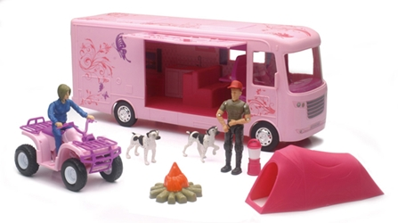 RV Camping Adventure Set in Pink (1:20), New Ray Item Number NRSS-37345A