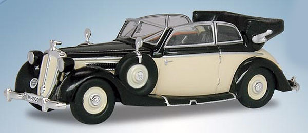 1939 Horch 930V Cabriolet in Black with Ivory (1:87), RICKO Item Number RICKO38652