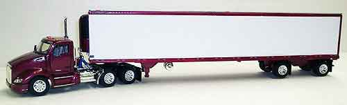 Kenworth T680 Day Cab in Dark Red with 53 Spread-Axle Reefer Van 1:53 by Tonkin Item Number: TNK500043