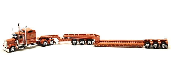 Kenworth W900L with Sleeper in Carmel Orange and Maroon with Lowboy Trailer and Jeep (1:53)