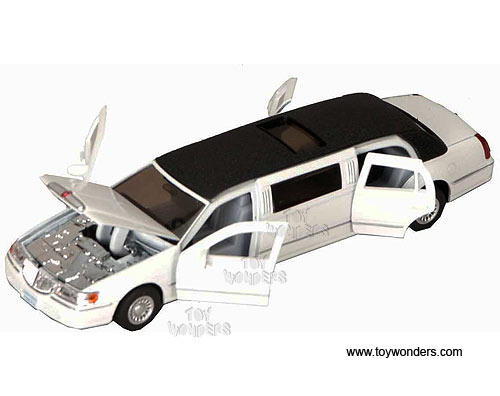 Lincoln Town Car Stretch Limousine (1999, 1:38 scale diecast model car, White), Kinsmart Item Number 7001DW