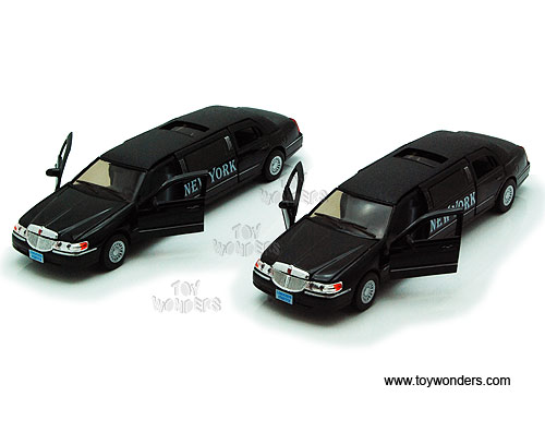 New York Lincoln Town Car Stretch Limousine (1999, 1:38 scale diecast model car, Black), Kinsmart Item Number 7001KNY