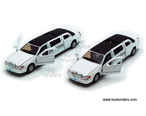 New York Lincoln Town Car Stretch Limousine (1999, 1:38 scale diecast model car, White), Kinsmart Item Number 7001WNY