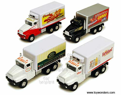 "Super Transporter Box Truck w: Decals (5.5"", Assorted Colors.),  Item Number 9912FD/3"