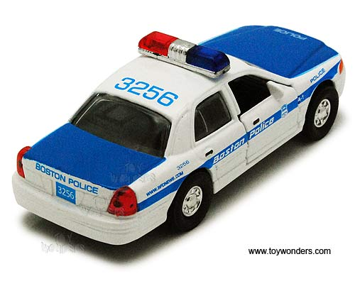 "Boston Police Car (5"" diecast model car, White and Blue),  Item Number 9985BS"