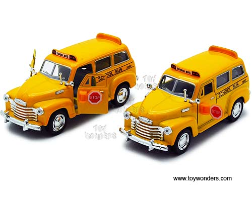 "Chevy Suburban School Bus (1950, 1/36 scale diecast model car, 4.5"", Yellow)"