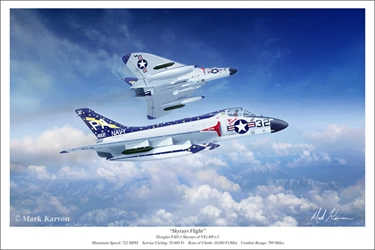 "Douglas F4D-1 ""Skyrays Flight"" (Fine Art Print) by Mark Karvon Aviation Art item number: MKNF4DSKYRAYSFLIGHT"