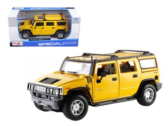 2003 Hummer H2 SUV Yellow 1/27 Diecast Model Car by Maisto, Maisto Item Number MST31231Y