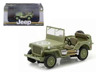 1944 Jeep Willys C7 U.S. Army Green with Star on Hood 1/43 Diecast Model Car by Greenlight, Greenlight Item Number GLC86307