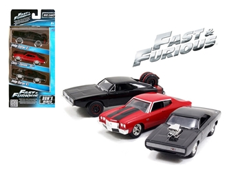 Fast and Furious Doms Rides Dodge Chargers and Chevelle 3 Pack Set 1:55 Cars