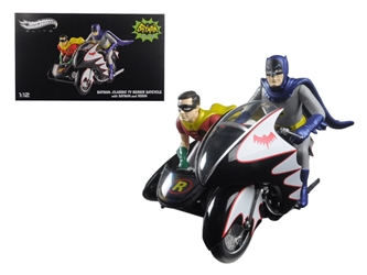 1966 Batcycle Elite Edition and Side Car with Batman and Robin Figures (1:12), Hot wheels Item Number CMC85