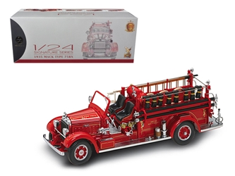 1935 Mack Type 75BX Fire Truck Red with Accessories (1:24), Road Signature Item Number ROS20098R