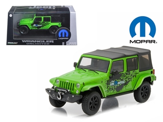 2014 Jeep Wrangler Unlimited Green Mopar Edition The Immortal Tribute With Display Showcase 1/43 Diecast Model Car by Greenlight, Greenlight Item Number GLC86077