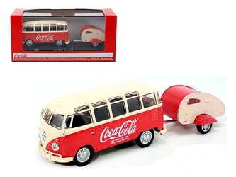 "1962 Volkswagen Samba Bus with Tear Drop Trailer ""100 Years Anniversary of the Coca-Cola Bottle"" 1/43 Diecast Model by Motorcity Classics, Motorcity Classics, Item Number 467433"