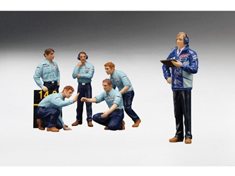 F1 Pit Crew Figures Team Tyrrell 1976 Set of 6pc (1:18), True Scale Miniatures Item Number 12AC12