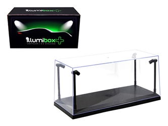 Collectible Display Show Case with LED Lights for 1/18 1/24 Models with Black Base by Illumibox, Illumibox Item Number 14001