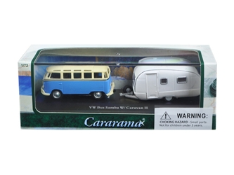 Volkswagen Bus Samba Blue with Caravan II Trailer in Display Showcase (1:72), Cararama Item Number CRRCARA12812