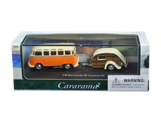 Volkswagen Bus Samba Orange with Caravan III Trailer in Display Showcase (1:72), Cararama Item Number CRRCARA12818
