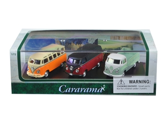 Volkswagen Bus 3 Piece Gift Set in Display Showcase (1:72) Cars, Cararama Item Number CRR71308