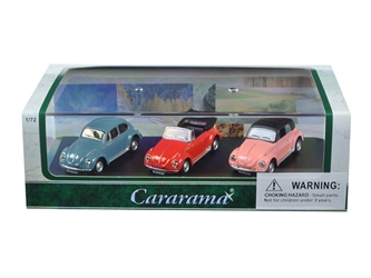Volkswagen Beetle 3 Piece Gift Set in Display Showcase (1:72) Cars, Cararama Item Number CRR71309