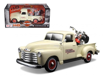 1950 Chevrolet 3100 Pickup Truck Harley Davidson 1/25 With 2001 FLSTS Heritage Springer Motorcycle 1/24 Diecast Model by Maisto, Maisto Item Number MST32194