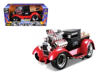 "1929 Ford Model A Matt Black/Red ""Muscle Machines"" 1/18 Diecast Model Car by Maisto, Maisto Item Number MST32201BK/R"
