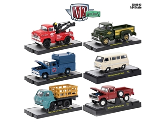 Auto Trucks 6 Piece Set Release 42 IN DISPLAY CASES 1/64 Diecast Model Cars by M2 Machines, M2 Item Number 32500-42