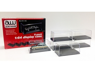 6 Display Cases for 1/64 Scale Model Cars by Autoworld, Auto World Item Number AWDC008