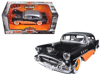 1955 Buick Century Harley Davidson Black / Orange 1/26 Diecast Model Car by Maisto, Maisto Item Number MST32197BK/OR