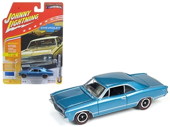 "1967 Chevrolet Chevelle Blue ""Muscle Cars USA"" 1/64 Diecast Model Car by Johnny Lightning, Johnny Lightning Item Number JLMC006B"