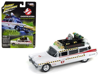 "1959 Cadillac Ghostbusters Ecto-1A from ""Ghostbusters 1"" Movie 1/64 Diecast Model Car by Johnny Lightning, Johnny Lightning Item Number JLSS004"