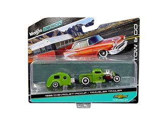 1936 Chevrolet Pickup Green and Traveler Trailer Tow & Go 1/64 Diecast Model by Maisto, Maisto Item Number MST15368N