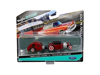 1929 Ford Model A Burgundy and Traveler Trailer Tow & Go 1/64 Diecast Model by Maisto, Maisto Item Number MST15368Q