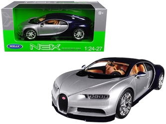 Bugatti Chiron Silver / Blue 1/24 - 1/27 Diecast Model Car by Welly, Welly Item Number 24077S/BL