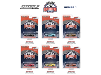 Ford GT Racing Heritage Series 1, 6pc Set 1/64 Diecast Model Cars by Greenlight, Greenlight Item Number GLC13200
