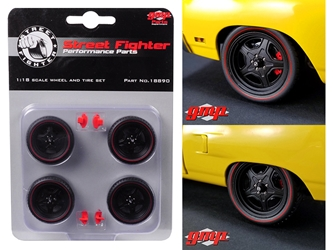 5-Spoke Wheel and Tire Set of 4 from 1970 Plymouth Road Runner Street Fighter 6-Pack Attack 1/18 by GMP, GMP Item Number 18890